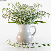3d convallaria majalis flowers pitcher model