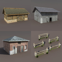 old barns 3d model