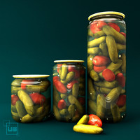 Jar with cucumbers