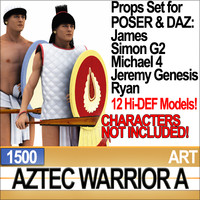 3ds props set daz aztec