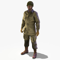 3d model rig soldier ww2 paratrooper