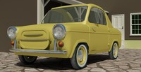 1959 Vespa 400 micro car (low poly)