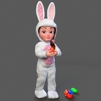 Minah Little Girl in Rabbit Outfit Rigged Character