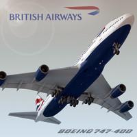 boeing 747-400 british airways 3ds