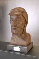 maya bronze bust man sculpture