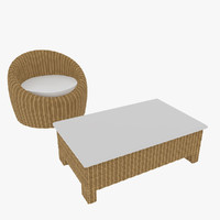 rattan chair table 3d max