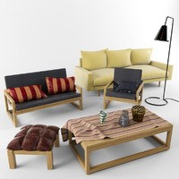 mebel set armchair coffee table 3d max