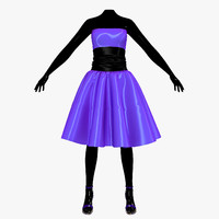 3d dress blue female mannequin model