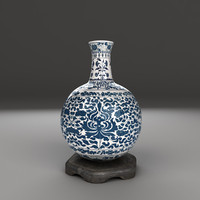 3d blue white porcelain vase model