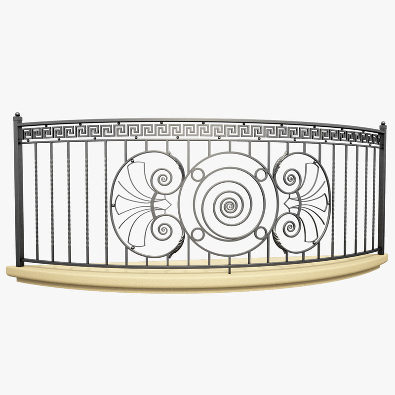 3d wrought iron balcony model for Balcony models