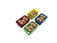 3d 4 colored totes boxes model
