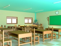 3d room classroom model