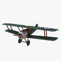 3d sopwith camel biplane fighter