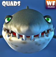 shark cartoon 3d obj
