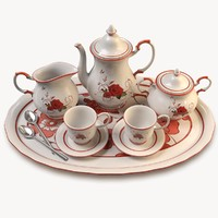 tea set 3d c4d