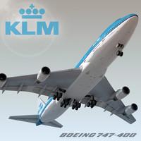 3d model of boeing 747-400 plane klm