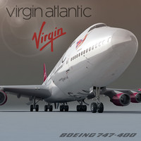 3ds max boeing 747-400 plane virgin atlantic