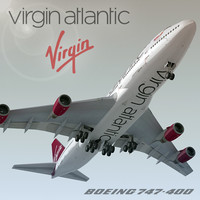 boeing 747-400 plane virgin atlantic 3d model