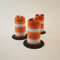 orange construction road barricade 3ds