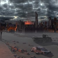 destroyed city street 3d max