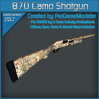 remington 870 express camo 3d model