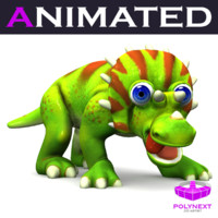 3ds max cartoon triceratops