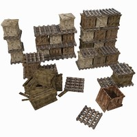 3d model wooden crates wood