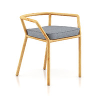 3d model wooden chair pillow