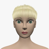 3ds max girl hair eyebrows