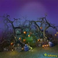 3d model hand painted cemetery halloween