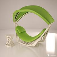 deckchair chair 3d model