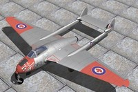 haviland vampire jet fighter 3d max