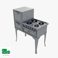 3ds max vintage stove oven