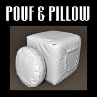 pouf pillow 3d obj