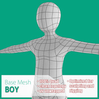 base mesh boy body 3d max
