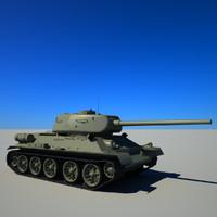 3d model soviet tank t-34-85