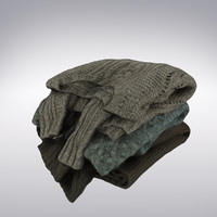 Sweaters Knitted Folded Stack - 3D Scanned