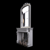 3d fireplace mirror model