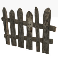 fence old wooden 3d model