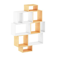 white wood shelf obj
