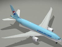 3d boeing 777-200 korean air model