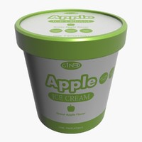 3d ice cream pot apple