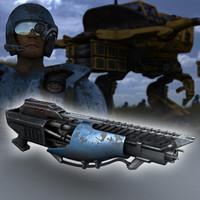 laser gun 3d obj