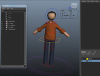 rigged human male pictogram 3d ma