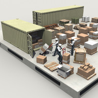 3d warehouse loading dock shipping containers