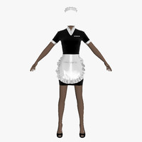 3ds max maid uniform female girl