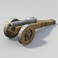 3d model middle age cannon weapon