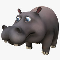 3d model cartoon hippopotamus