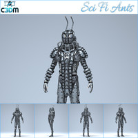 3d cyborg character games model