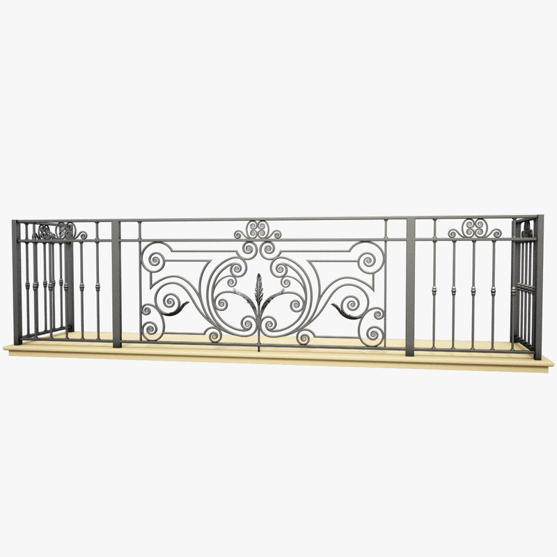 Wrought iron balcony 3d max for Balcony models